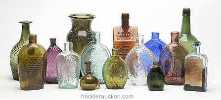 Group shot of bottles and glass in Heckler auction #88