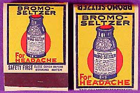 Promotional 1930s Bromo Seltzer matchbook