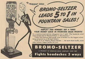 1949 ad for Bromo Seltzer featuring Mr. Percent