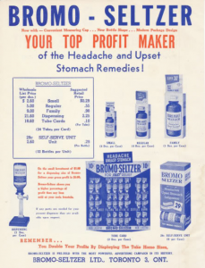 Bromo Seltzer ad from 1960 - still featuring glass bottles