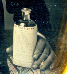 Close up view of Ware's Lotion bottle